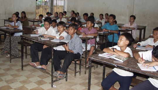 Pupils at the Big Ben Language School in Phnom Penh, Cambodia